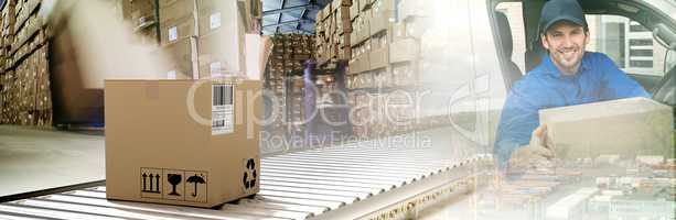 Composite image of packed carton box on conveyor belt