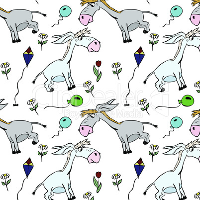 gray little donkeys and balloons with flowers, seamless pattern isolated