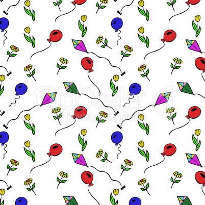 air balloon and a kite drawn by hand, seamless repeating pattern