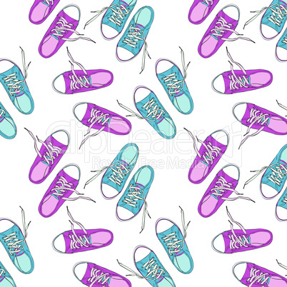 pair of pink and blue sneakers painted by hand, seamless repeating pattern of shoes