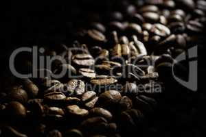 Coffee beans background, shallow DOF, space for text