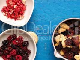 Dried organic berries in bowls