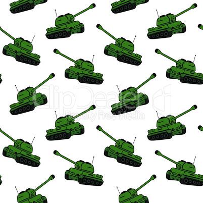 cartoon hand drawn green tank, repeating seamless pattern