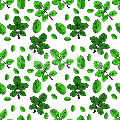 drawn green rose leaves, repeating seamless pattern