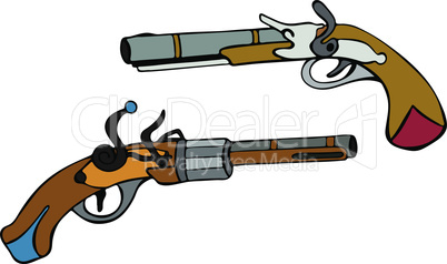 steel revolver hand-drawn with a brown handle