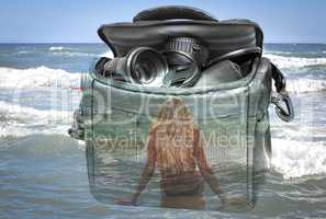 The effect of double exposure: the camera, the girl and the sea.