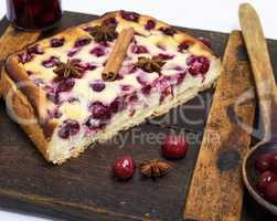 cake of cottage cheese and red cherries , above