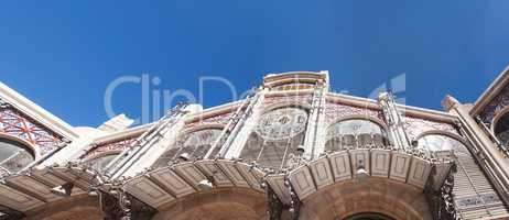bottom view of the famous traditional central market of Valencia
