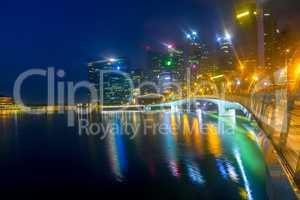 Night Marina Bay of Singapore with Light Mist