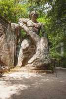 Ercole e Caco (Hercules and Caco) statue in the park of the monsters in Bomarzo, Italy.