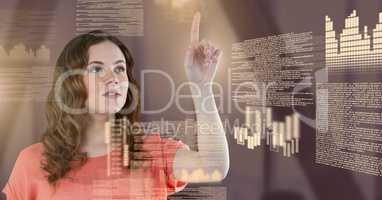 Businesswoman touching screen text interface