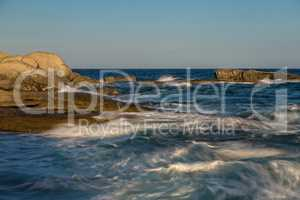 Nice long exposure picture ocean detail of the Spanish coastal in Costa Brava, Palamos