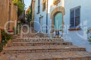 Beautiful stairs detail in a small resort village Begur in Costa Brava of Spain