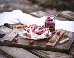 piece of cottage cheese cake and cherry berries