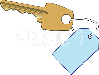 Gold key with a label
