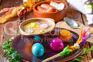 easter decoration with polish easter soup