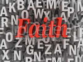 3d imagen Faith word cloud concept