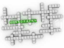 3d Homeopathy, alternative natural medicine word cloud sign.