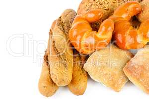 Bread and bakery products isolated on white background.