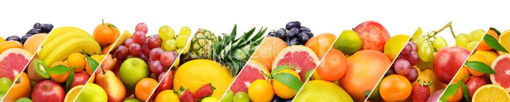 Collection fresh fruits isolated on white background. Panoramic