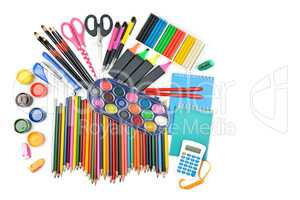 Collection of school supplies, isolated on pure white background
