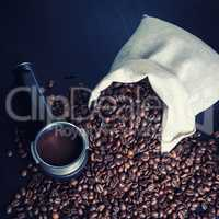 Coffee beans and holder