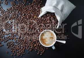 Coffee cup, beans, bag