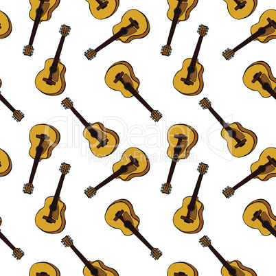 hand-drawn brown classic guitar, seamless pattern