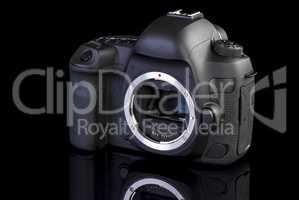Dslr camera frontal side on black glass