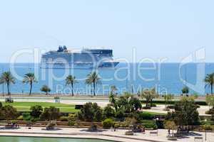 The view on shore and cruise ship in Palma de Mallorca, Spain