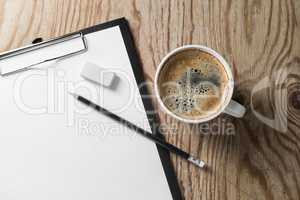 Stationery and coffee cup