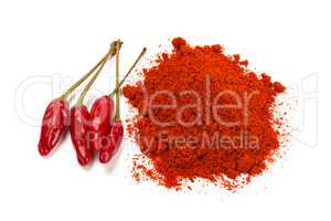 Red chili pepper with chili powder