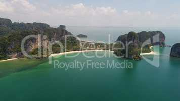 Aerial view of Railay beach and coastline in Krabi province