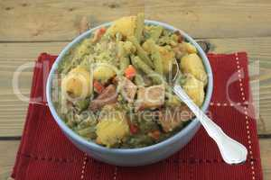Slow cooked potatoes, green beans, ham, stew