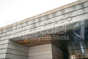 Modern entrance of the Prado Museum in Madrid, Spain