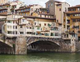 detail of an arch of the famous Ponte Vecchio (Old Bridge) in Florence