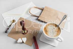 Stationery with coffee cup