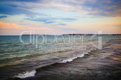 Sea surf at dawn