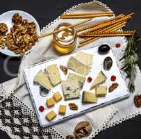 small pieces of brie cheese, roquefort, camember