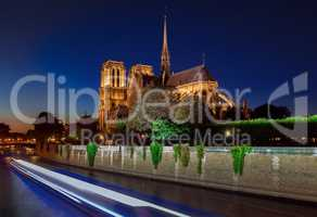 Notre Dame cathedral at night