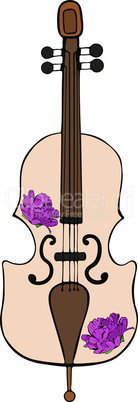 hand-drawn cello with purple peonies