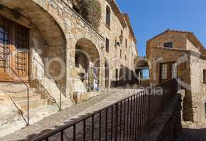 Beautiful old stone houses in Spanish ancient village, Pals, in Costa Brava