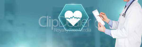 Doctor holding tablet with medical heart bpm rhythm interface hexagon icon