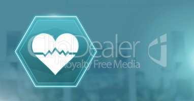 medical heart bpm rhythm interface hexagon icon