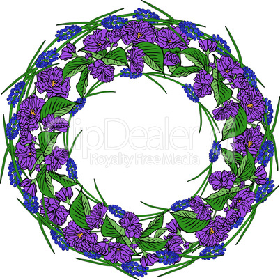 wreath of purple sakura flowers and blue spring flowers, empty space in the middle