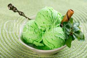 Mint ice cream ready to serve