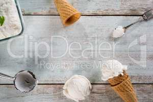 Vanilla ice cream wafer cone