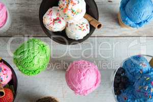 Different flavors ice cream bowl top view