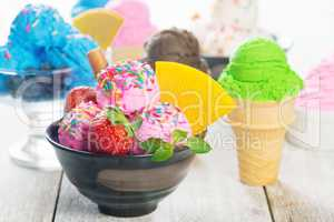 Different color ice cream bowl