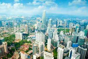 Aerial View Kuala Lumpur city skyline daytime